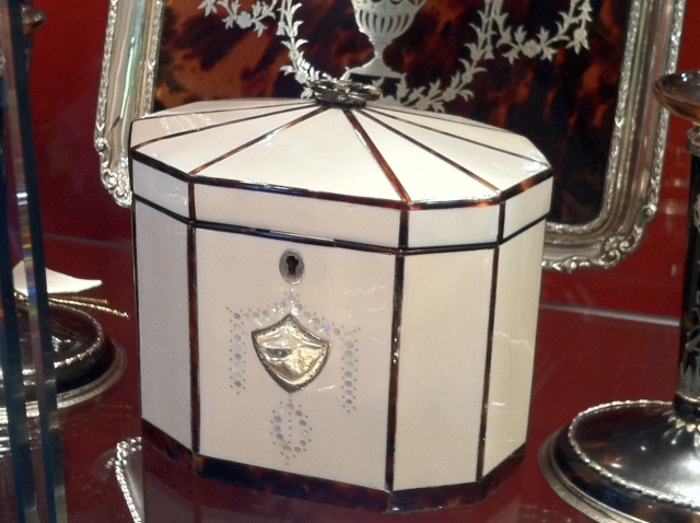 English ivory and tortoiseshell tea caddy